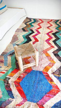 Vintage Moroccan Kilim  BOUCHEROUITE Rug   zigzag  by lacasadecoto