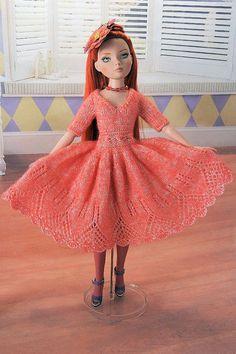 orange daisy chain waist dress outfit for par Bellesdollfashions