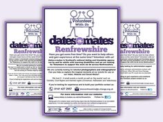 VOLUNTEER WITH US - Informative flyer designs for Volunteer With Us run by dates-n-mates Renfrewshire and C-Change Scotland.