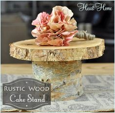 Rustic Wood Cake Stand14 in Diameter by WoodShopatHeartnHome, $55.00