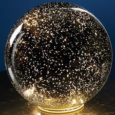 Lighted Mercury Glass Sphere - Starry Points of Light Mirror Reflection Ball - Cordless at Signals | HR3416