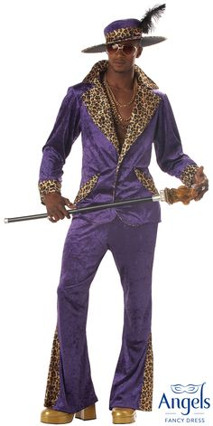 The Pimp Purple suit includes a extra long single breasted jacket with faux leopard print collar, lapels and cuffs. Also included are elasticated waist trousers with leopard print inserts in the flare. Pack also includes a wide brimmed hat with a wire form in the rim. http://www.fancydress.com/costumes/Pimp-Purple/0~4518977
