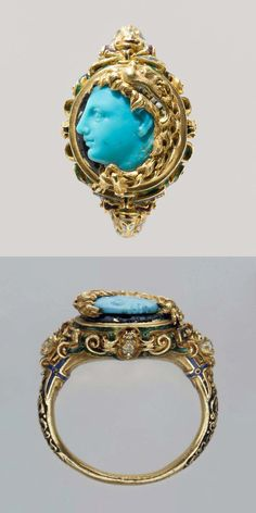 Alexander the Great (?), ring: mid-16th century; cameo: early Hellenistic 4th century B.C., probably Italian, turquoise, enamel, gold, ring setting, overall: 1 x 1 1/16 in. (2.6 x 2.7 cm); visible cameo (confirmed): 11 x 9.6 mm. This vibrant carving has previously been described as made of glass and as a product of the French Renaissance, but it is in turquoise, a rarity in cameos of any period. That it is reputed to have been in the Este collections may make an Italian origin likelier.