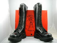 BRITISH MADE GLADIATOR 20 EYELET LEATHER STEEL TOE CAP BOOTS SKINHEAD GOTH