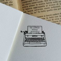 Writing Machine Ex Libris Stamp,Customizable Rubber Stamp,Ready to Ship Bookplate Stamp,Christmas Books Lovers Gift Idea by ReArtFactory on Etsy Ex Libris, Tattoos For Lovers, Bff Tattoos, Typewriter Tattoo, Writing Machine, Wrist Tattoos For Women, Book Lovers Gifts, Custom Stamps, Christmas Books