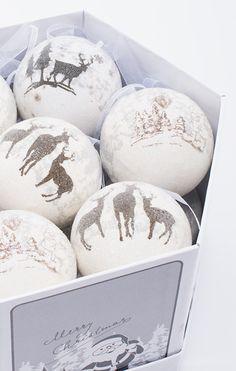 christmas balls with animals