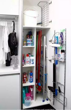 Utility room or small laundry room closet with space for storing laundry soap, broom etc Utility Closet, Laundry Closet, Cleaning Closet, Laundry Room Organization, Laundry Storage, Storage Room, Kitchen Storage, Storage Ideas, Broom Storage
