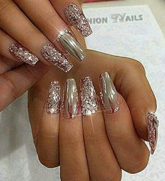 67 Ideas Nails Design Bright Products For 2019 Sparkle Nail Designs, Fall Nail Art Designs, Sparkle Nails, Colorful Nail Designs, Simple Nail Designs, Bling Nails, Toe Designs, Rose Gold Nails, Metallic Nails