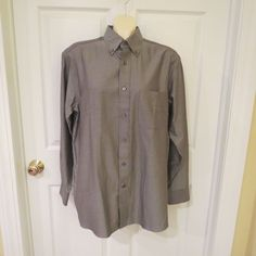 SALE ENDS SOON!! HURRY SHOP NOW!! Daniel Cremieux Grey Button Down Dress Shirt Sz.Med., 100% Egyptian Cotton #DanielCremieux