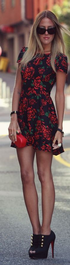 Motel Rocks Black Big Red Floral Little Dress by Style Lover