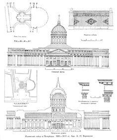 Казанский собор в Санкт-Петербурге, архитектор Воронихин, чертежи