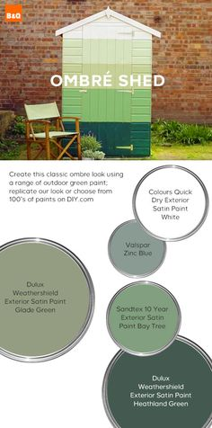 This ombré paint look is for you green fingered gardeners. Four different shades of green painted to create an ombré effect and to show your garden shed a little bit of summer love. The perfect summer garden look! Back Gardens, Outdoor Gardens, Fresco, Summer Garden, Home And Garden, Outdoor Paint, Outdoor Decor, Different Shades Of Green, Jelsa