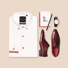 This casual outfit is perfect for your Valentine's day. #benjaminbarkerstore #benjaminbarker #productstyling #flatlay #menswear #dapper #GQ #esquire #sartorial