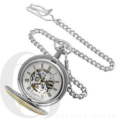 Two Tone Engraved Mechanical Charles Hubert Pocket Watch & Chain #3820