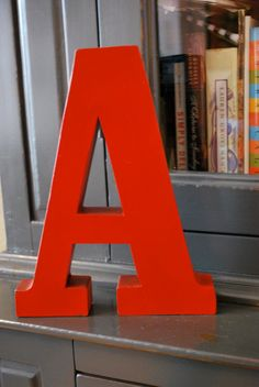 Red Painted Metal Letter A