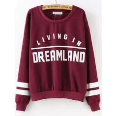 SheIn(sheinside) Wine Red Round Neck Patterns Letters Print Sweatshirt