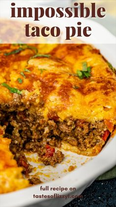 Taco Pie Recipes, Hotdish Recipes, Mexican Food Recipes, Cooking Recipes, Dinner With Ground Beef, Mexican Dishes, Ground Beef Recipes, International Recipes, Main Meals