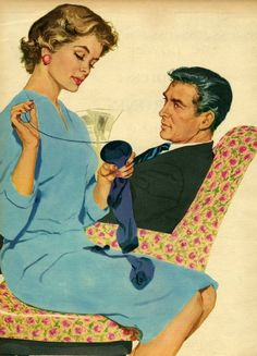 kitsch retro graphic vintage magazine illustration from of darning cool art for craft room wall Pin Ups Vintage, Pin Up Retro, Retro Art, Vintage Ads, Vintage Images, Retro Images, 1950s Housewife, Vintage Housewife, Vintage Couples