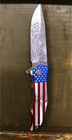 We The People Folding Pocket Knife - All American utility blade for the patriot - Declaration of independence engraved on the knife