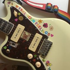 Aesthetic guitar electric music instrument white stickers feel your feelings quote cute stickers Music Aesthetic, Retro Aesthetic, Travel Aesthetic, Ukulele, Guitar Chords, Images Esthétiques, Cool Electric Guitars, Electric Music, Guitar Design