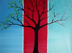 The Seasons in Blue Red and Green by CoFallonArt on Etsy, $100.00