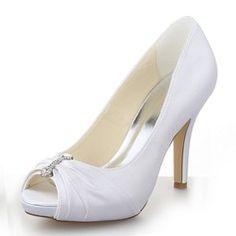 Women's Satin Stiletto Heel Peep Toe Platform Sandals With Rhinestone