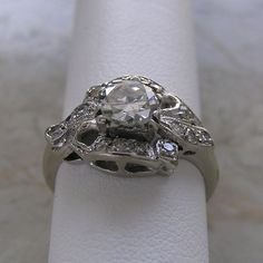 Vintage Diamond Engagement Ring 14K White Gold Circa 1950 T.D.W. 0.87 CT. by marketplacetreasure on Etsy https://www.etsy.com/listing/180775689/vintage-diamond-engagement-ring-14k