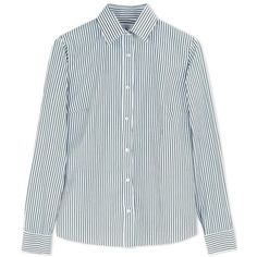 Stella Jean Green Striped Cotton Poplin Shirt ($200) ❤ liked on Polyvore featuring tops, shirts, green, vertical stripe top, stripe shirt, vertical stripe shirt, green long sleeve shirt and button front shirt