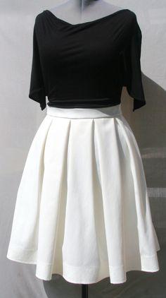 Jupe blanc cassé à plis creux taille 44 : Jupe par v-l-basics