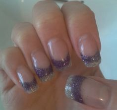 Purple and silver glitter gel nail art
