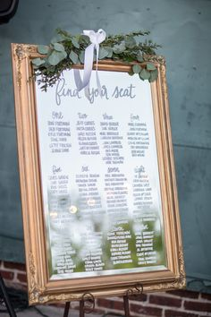 Wedding Reception Seating Chart on Mirror with Gold Frame and Greenery Decor Mirror Seating Chart, Reception Seating Chart, Table Seating Chart, Wedding Reception Seating, Seating Chart Wedding, Wedding Tables, Wedding Mirror, Wedding Frames, Wedding Signs