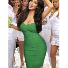 Vestido Bandage Color Verde Online VB031