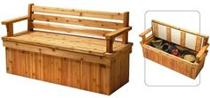 Plans for Deck Bench which allows storage space for seat cushions, etc.