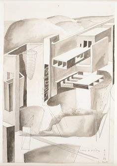 Concept Watercolor for Edge of a City bySteven Holl