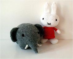 Hæklet Miffy og hæklet elefant