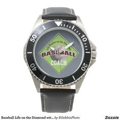 Baseball Life on the Diamond with Name Text Watch - $114.00 - Baseball Life on the Diamond with Name Text Watch - by #RGebbiePhoto @ #zazzle - #Baseball #Sport #Game - Keep up on your time management. ADD YOUR NAME in white text! Life begins on the diamond. Batter Up! Add your name in bold sporty text. A white baseball, dirty from being played with, stitching faded but still red.
