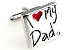 """Abotoaduras em prata """"Eu amo meu pai"""". - (I Love My Dad) um presente que é uma declaração."""