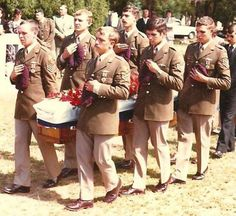 75339440PE Sergeant Louis Wessels from 1 Para Btn being carried to his last resting place by members from his Unit. He was Killed in Action on 15 January 1981 during a fierce contact with a numerically superior FAPLA and SWAPO/PLAN force while supporting 32 Battalion  during the Battle of Cuamato in S/Angola. The Paratroopers had retreated in order to re-group when they were subjected to heavy enemy mortar fire. He was killed instantly when hit by mortar shrapnel.