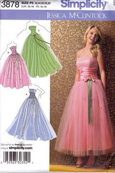 Simplicity 3878 Strapless Full Skirt Prom by allthepreciousthings
