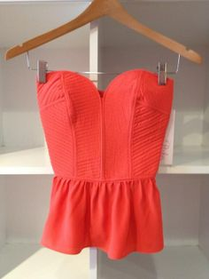 #red #peplum #top