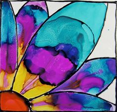 Enjoy this free Stained Glass Alcohol Ink project! Have fun with our free cardmaking templates and clear step by step instructions. Alcohol Ink Tiles, Alcohol Ink Glass, Alcohol Ink Crafts, Alcohol Ink Painting, Sharpie Art, Sharpie Crafts, Sharpies, Wow Art, Copics