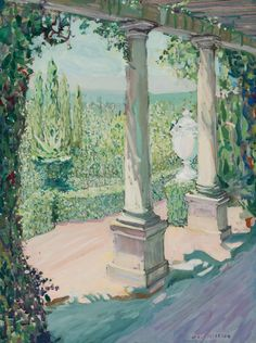 """""""Louis Comfort Tiffany's Garden,"""" Jane Peterson, gouache on board, 24 x 18"""", private collection."""