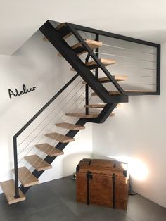 Interior stairs modern basements New ideas Steel Stairs, Loft Stairs, Staircase Railings, House Stairs, Staircase Design, Basement Stairs, Modern Basement, Modern Stairs, Loft Conversion Stairs