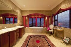 The Persian rug is a perfect fit. Persian Carpet, Persian Rug, Bathroom Carpet, Corner Bathtub, Perfect Fit, Rugs, Bathrooms, Home, Ideas