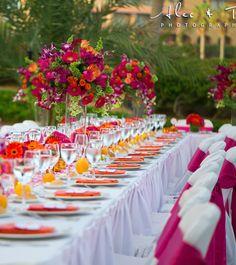 Fleur mariage centre de table exotique tropical id e for Idee repas reception amis