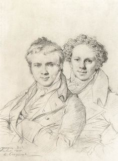 Jean-Auguste-Dominique Ingres - 	Double portrait de Otto Magnus von Stackelberg et Jacob Linckh (1817) graphite (194 x 144 mm).