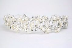Wedding Tiara of Ivory Pearl Clusters and Leaves from Cassandra Lynne