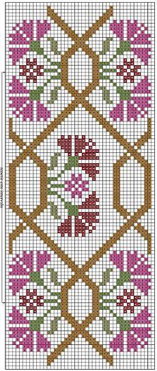 Цветочная вышивка крестом для полотенца. Схема