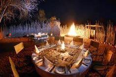Bush Dinner at Kempinski Mokuti Lodge - Etosha Stuff To Do, Things To Do, Safari Wedding, Fire Pit Area, Lokal, Al Fresco Dining, Photo Galleries, National Parks, Table Settings