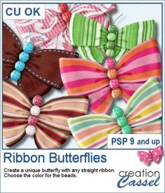 With this script, you can turn any straight ribbon into a fun butterfly. It will adjust the process for any thickness of the ribbon. You can use a solid or translucent ribbon.  You will also have the option to create a body made of beads. Choose to either use a single color or alternating colors.  Each layer will be left on unmerged but linked layers so you can tweak any of them if you want to.  Compatible with PSP9 and up. Graphic Projects, Psp, Script, Layers, Ribbon, Butterfly, Scrapbook, Tools, Beads